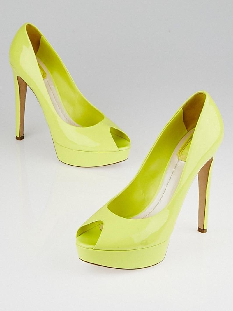 df6b55df84d Christian Dior Yellow Patent Leather Platform Peep Toe Miss Dior Pumps Size  9.5 40 http