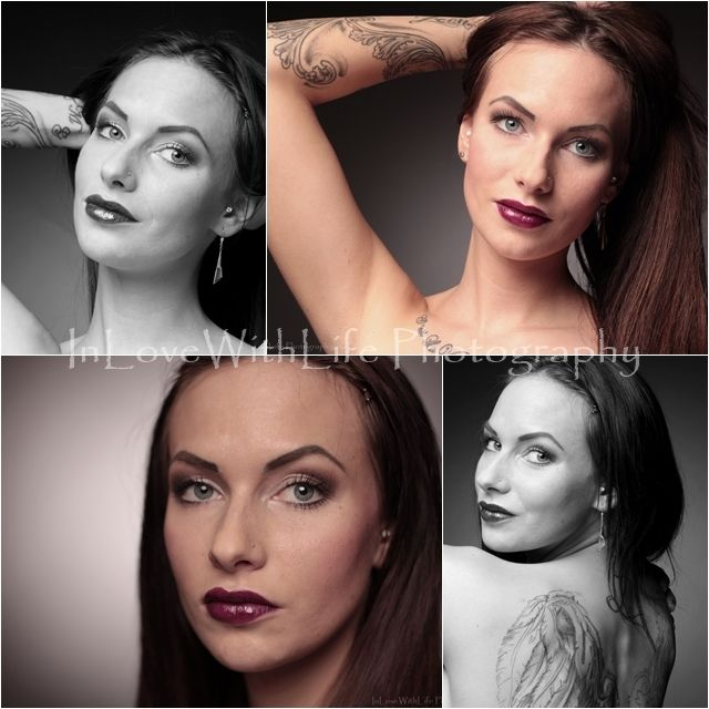 Beautiful portrait pics. Beautiful babe with dark berry lips and natural eye make-up.
