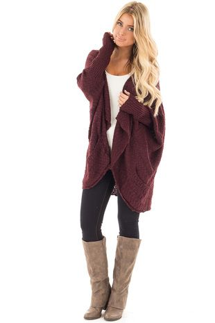 8c270f4ff6fb18 Burgundy Knit Cardigan with Dolman Sleeves and Pockets front full body