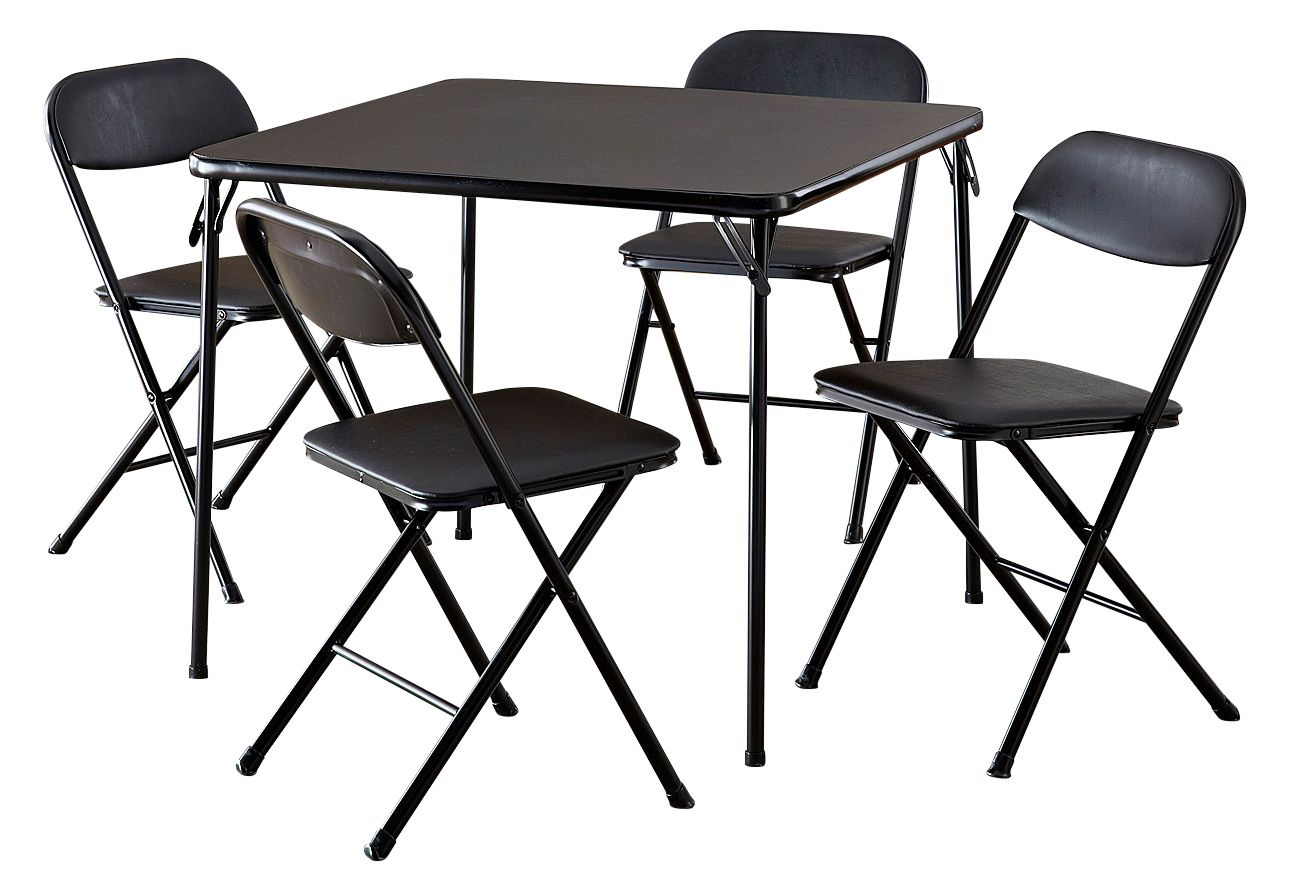 Cosco 5 Piece Card Table Set Black Walmart Com In 2020 Card Table Set Card Table And Chairs Table And Chair Sets