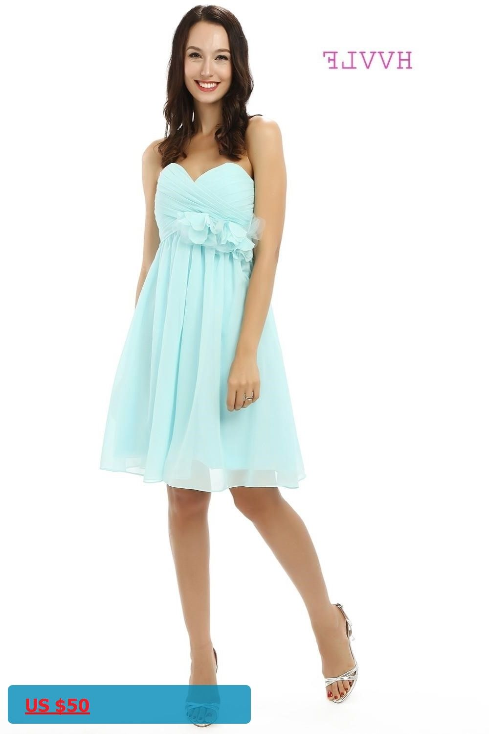 Turquoise 2018 Cheap Bridesmaid Dresses Under 50 A-line Sweetheart ...