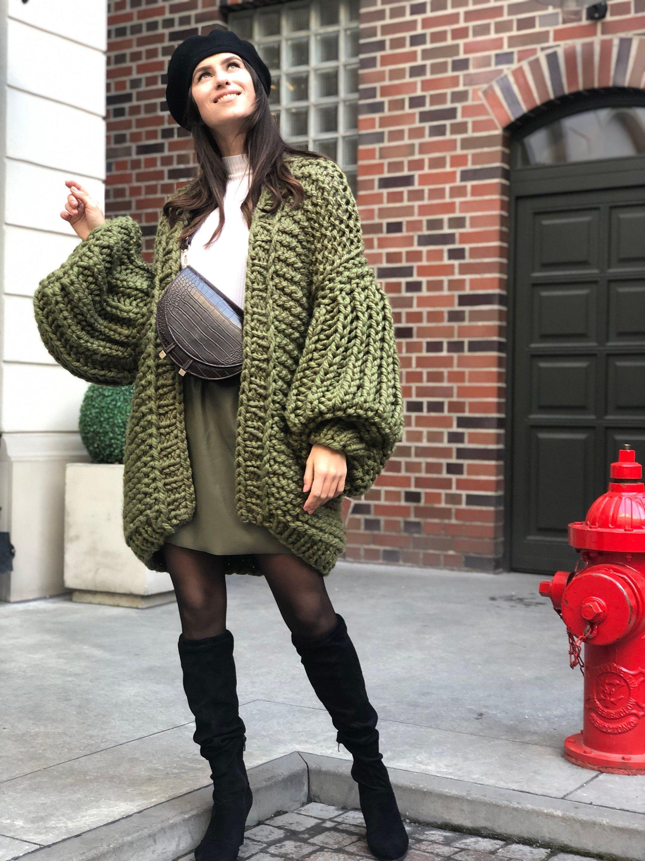 Green bomber jacket Bobble sweater Gray kimono cardigan