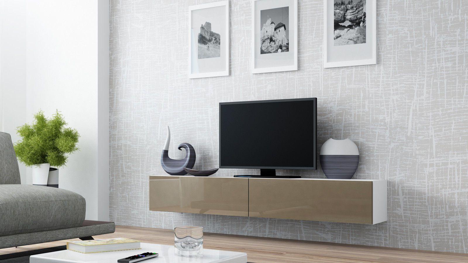 Vigo Tv Stand Floating Wall Mountable Unit High Gloss Fronts