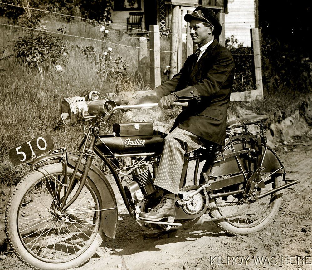 1910 Rppc Indian Motorcycle Hendee Mfg Springfield Ma Rider Clear Fantastic Rare Vintage Motorcycle Photos Indian Motorcycle Sidecar