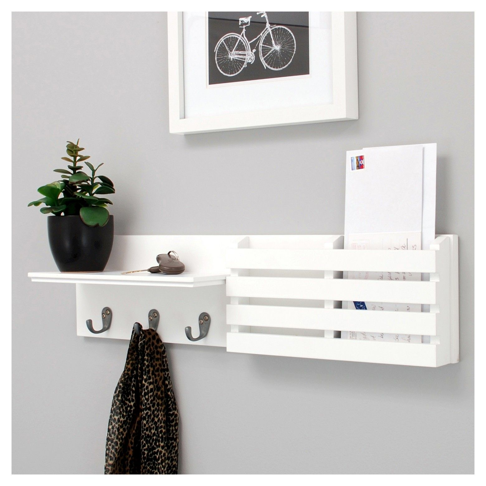 Sydney Wall Shelf with Hooks and Mail Sorter - White | Mail holder ...