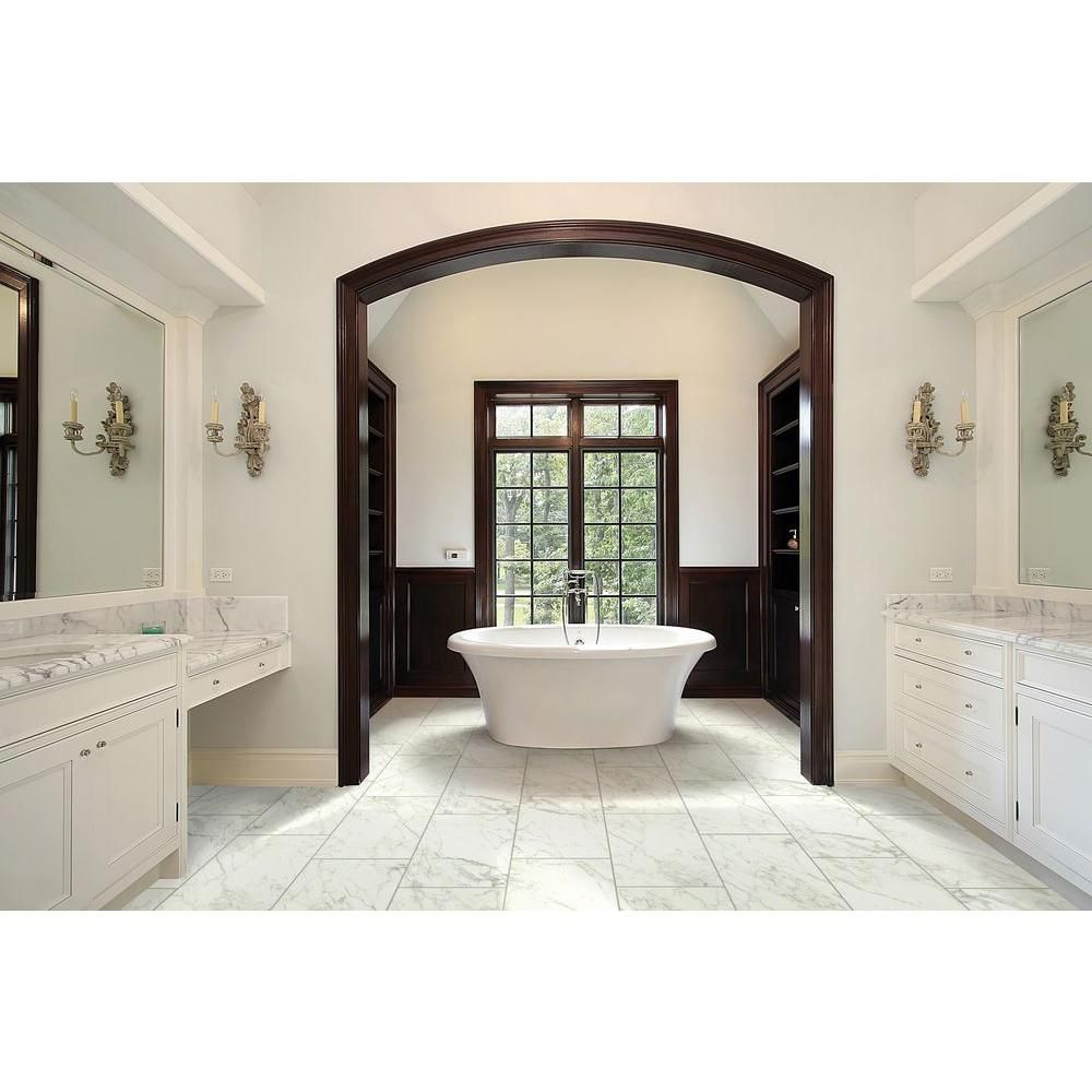 MSI Carrara 12 in. x 24 in. Glazed Porcelain Floor and Wall Tile ...