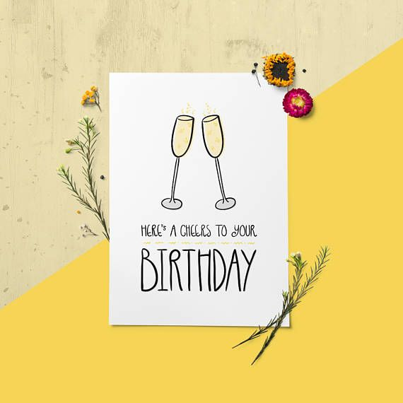 Prosecco Birthday Card, Hand Lettered Champagne Card, Printable Best - printable best friend birthday cards