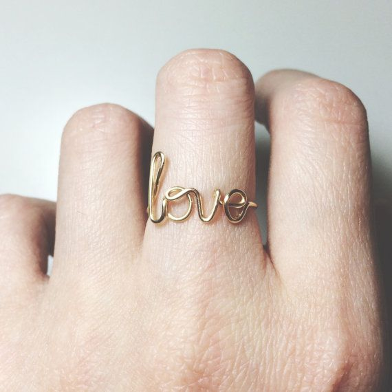 Love Ring Sterling Silver/Gold Filled Wire/Initial ring/Letter Ring ...