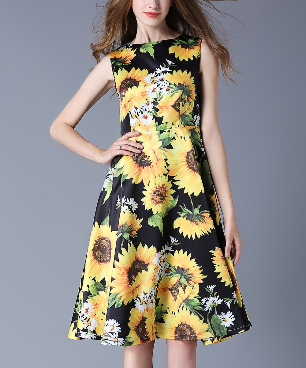 Black Yellow Sunflower Fit Flare Dress Dresses A Line Dress Fit Flare Dress [ 1201 x 1000 Pixel ]