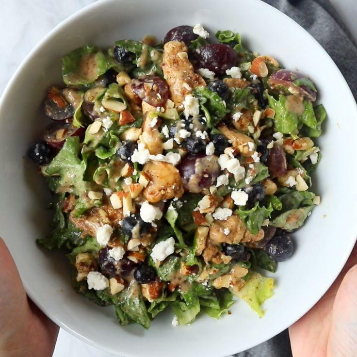 Rainbow Chicken Salad with Almond Honey Mustard Dr