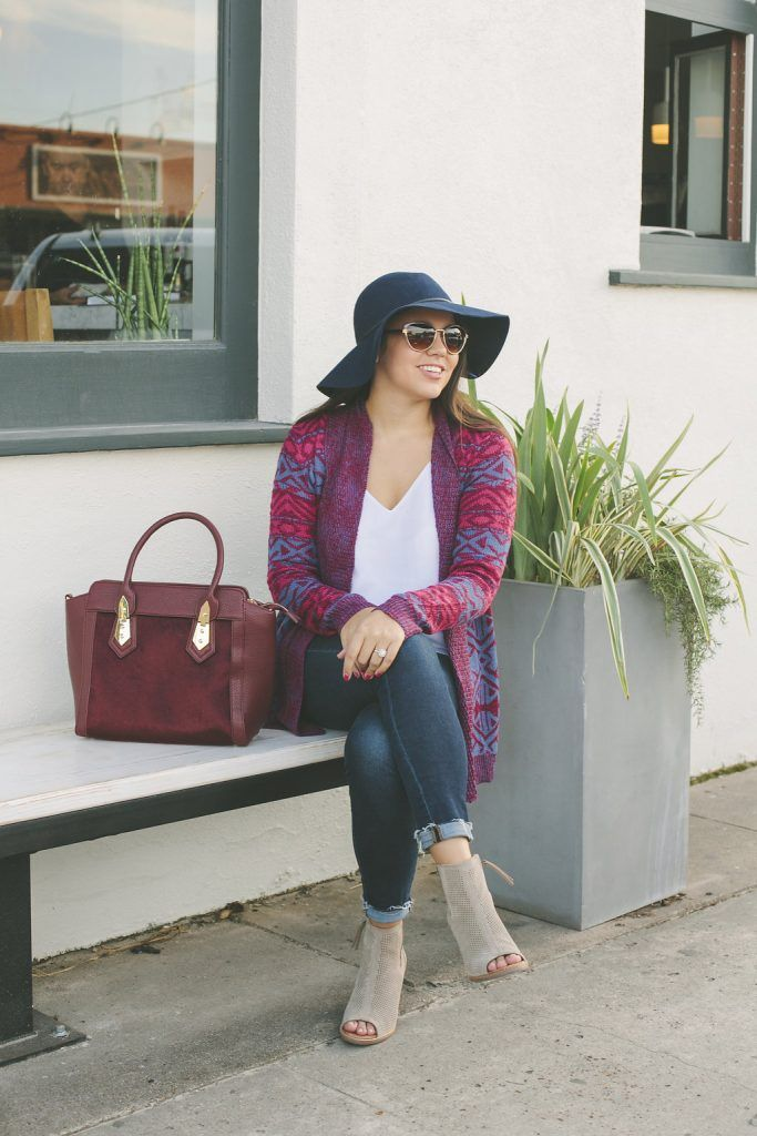 It would be an understatement for me to say I love this outfit! There's something about the fall it color, burgundy, that I just love wearing. Cranberry bag and navy hat just finish off this gorgeous look like a cherry top!