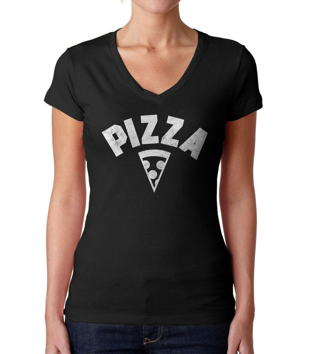 2db0e1360572c1 Women s Team Pizza Vneck T-Shirt - Juniors Fit Vintage Retro Athletic Logo  Inspired