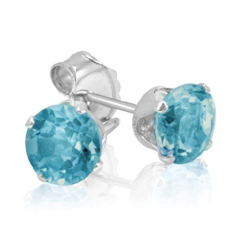 Swiss Blue Topaz Stud Earrings set in Sterling Silver ( 1ct tw 5mm) Amanda Rose Collection. $19.95. 1ct total gem weight. 5mm round swiss blue topaz. Sterling Silver Settings and Backs
