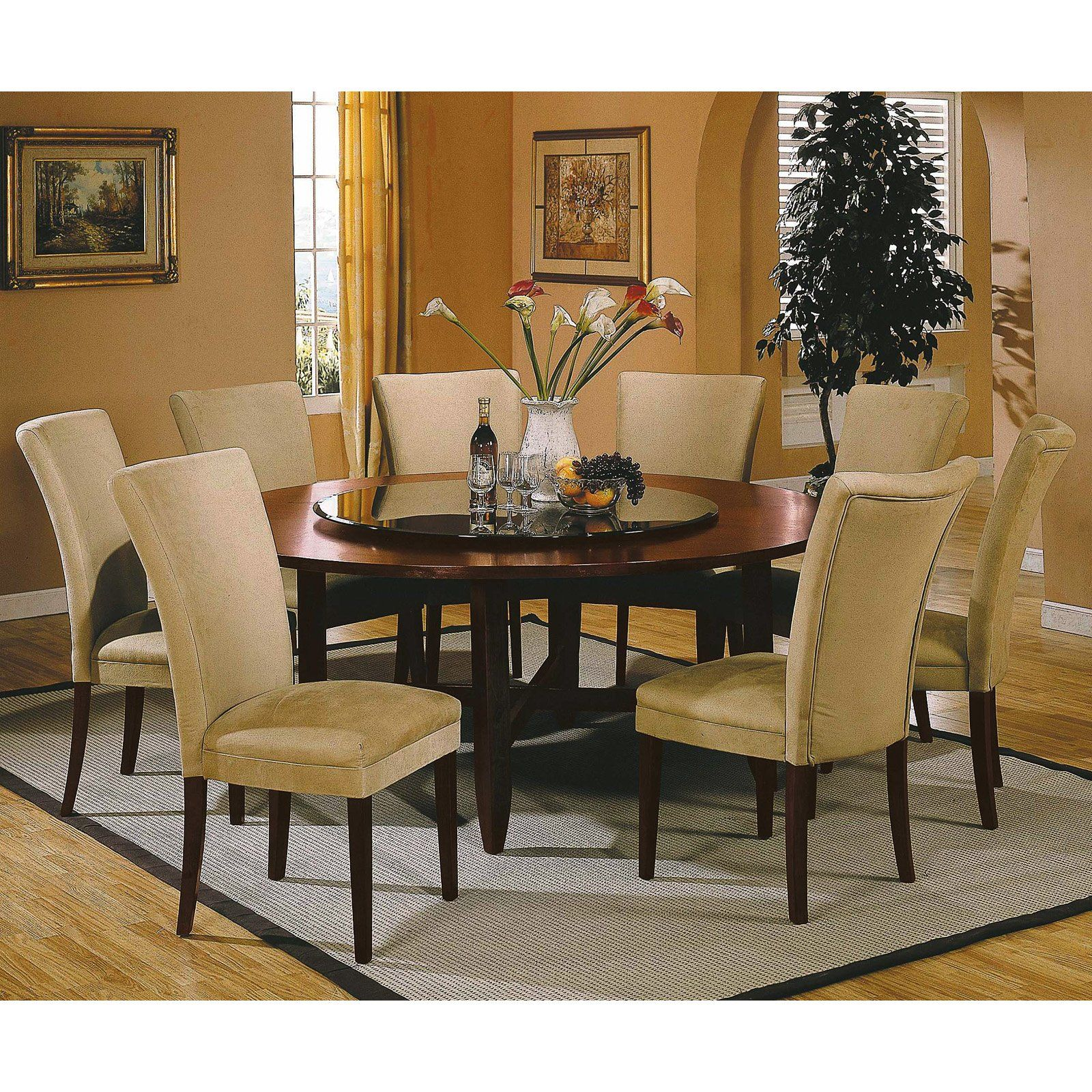 Steve silver avenue 9 piece 72 inch round dining table set for Round table 99