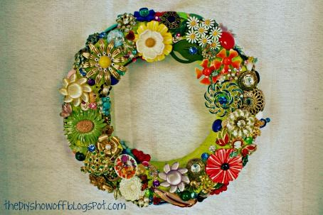 Good A Collection Becomes A Display How To Make A Jewelry Brooch Wreath, Crafts, Home  Decor, Wreaths, Finished Jewelry Wreath Design