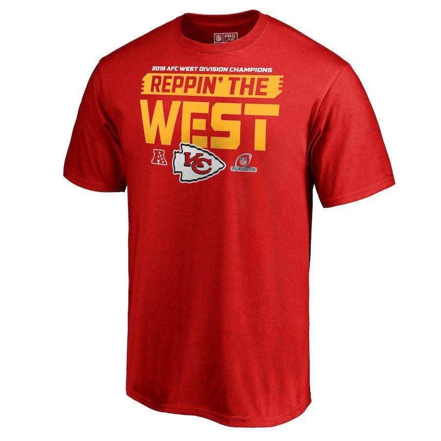 Men s Kansas City Chiefs NFL Pro Line by Fanatics Branded Red 2018 AFC West Division  Champions Fair Catch T-Shirt c5e1d346d