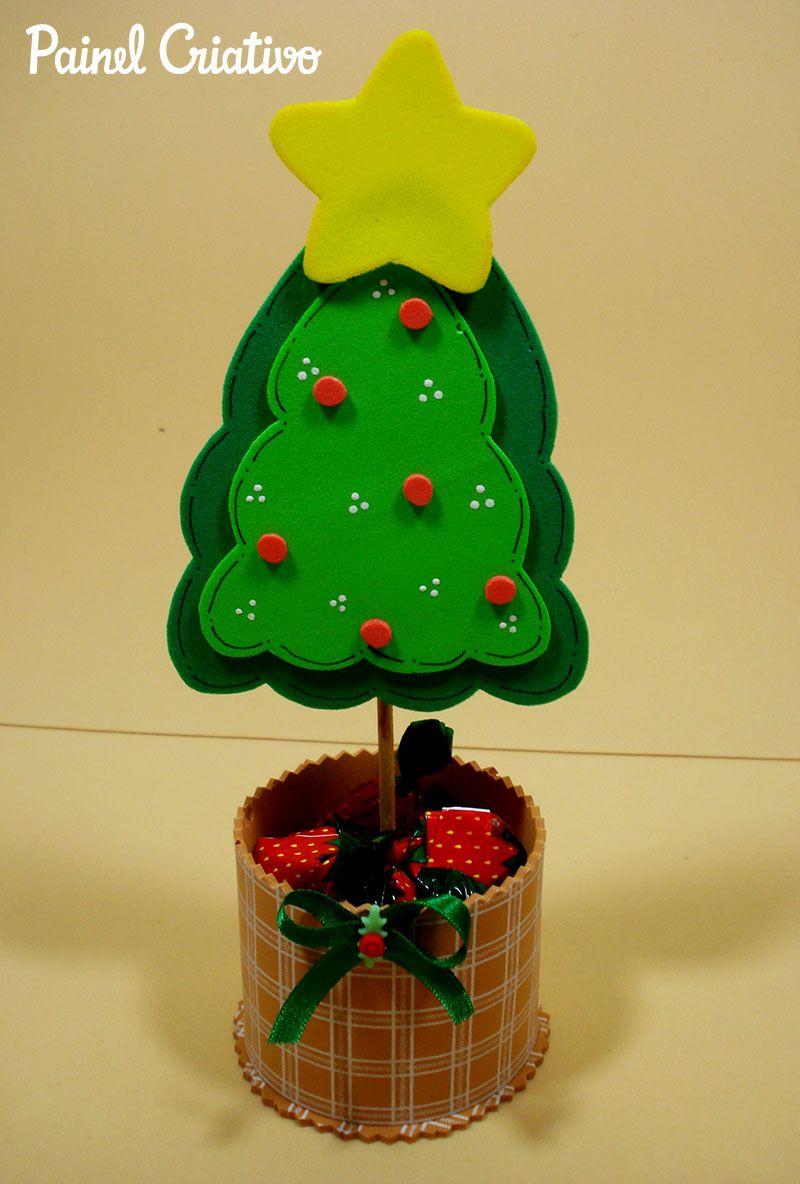 Como Fazer Lembrancinha Natal Eva Mini Arvore Natal Porta