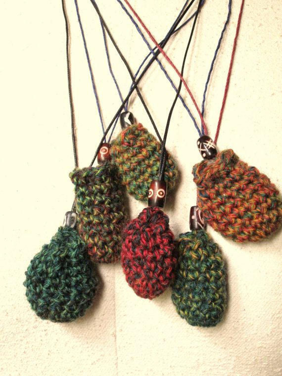 Amulet Pouch Talisman Necklace crochet bag ethnic tribal ...