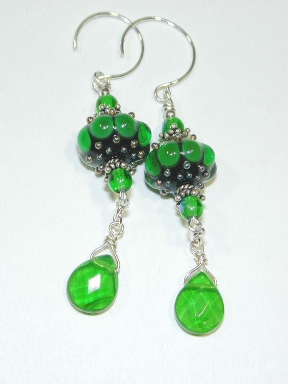 JBB Shamrock Green Bubble Lampwork Glass Bead Earrings St Patricks Day