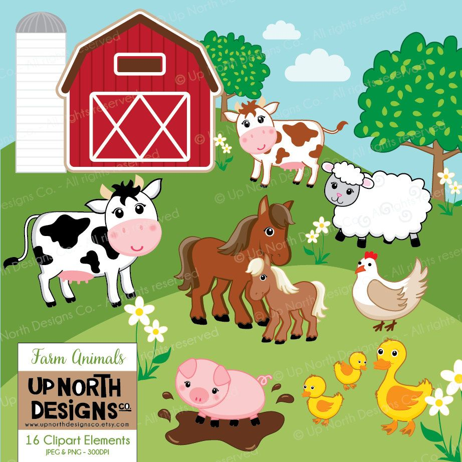 Farm Animals Clipart Cow Horse Duck Sheep Pig Illustrations Farmyard Barnyard Personal And Commercial
