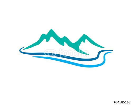 Vector: mountain and river