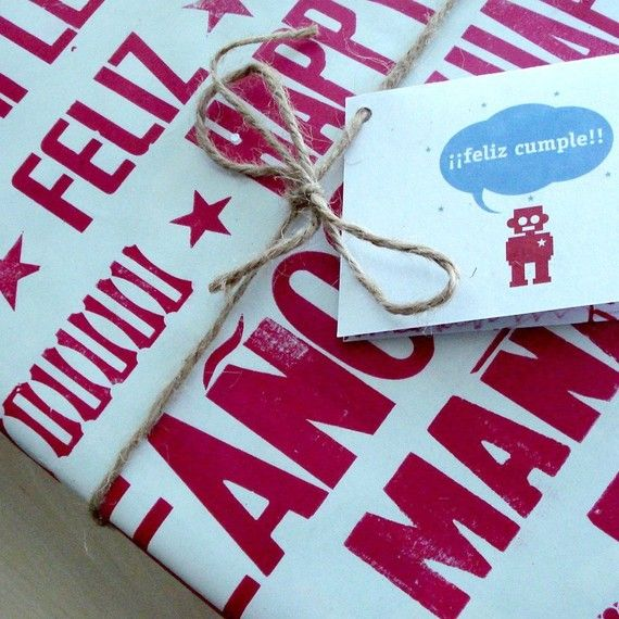 Happy Birthday Letterpress Wrapping Paper