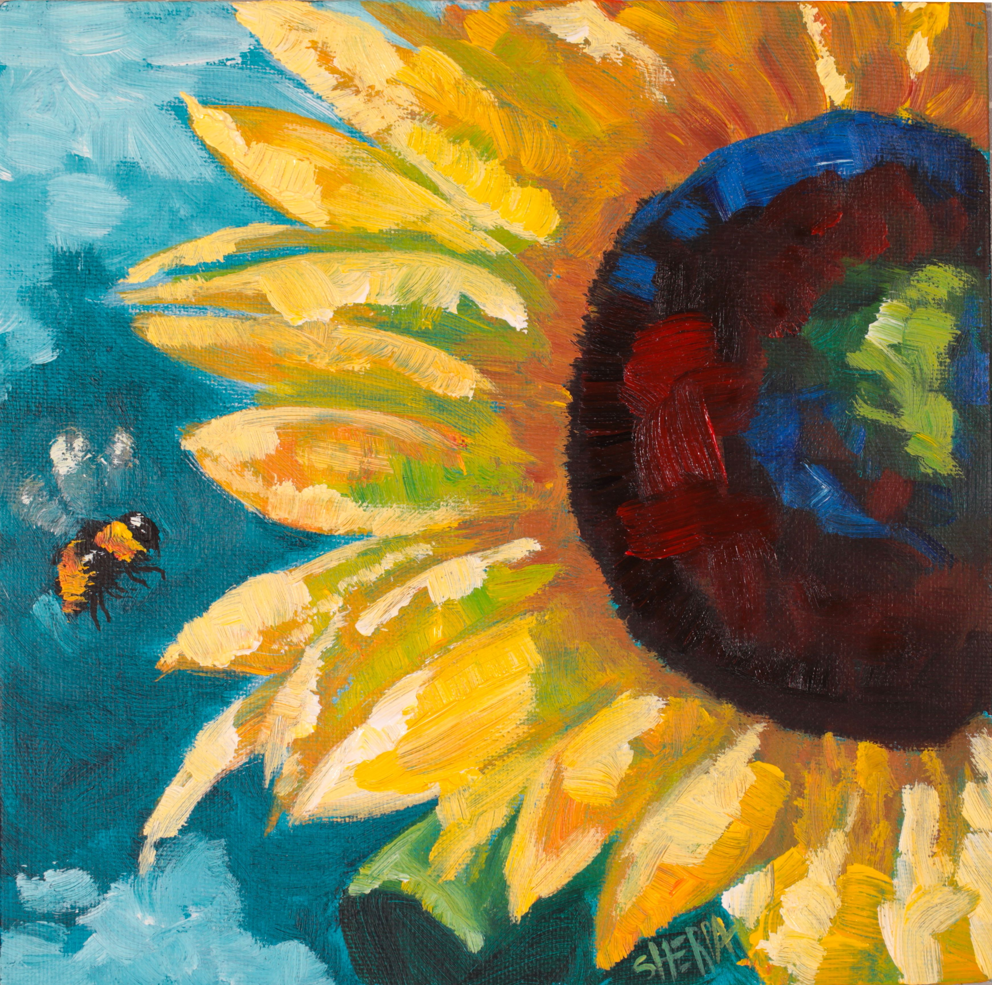 How To Paint A Sunflower And Bee Acrylic April Daily Painting Step By Step Day 6 In 2020 Bee Painting Abstract Art Painting Sunflower Art