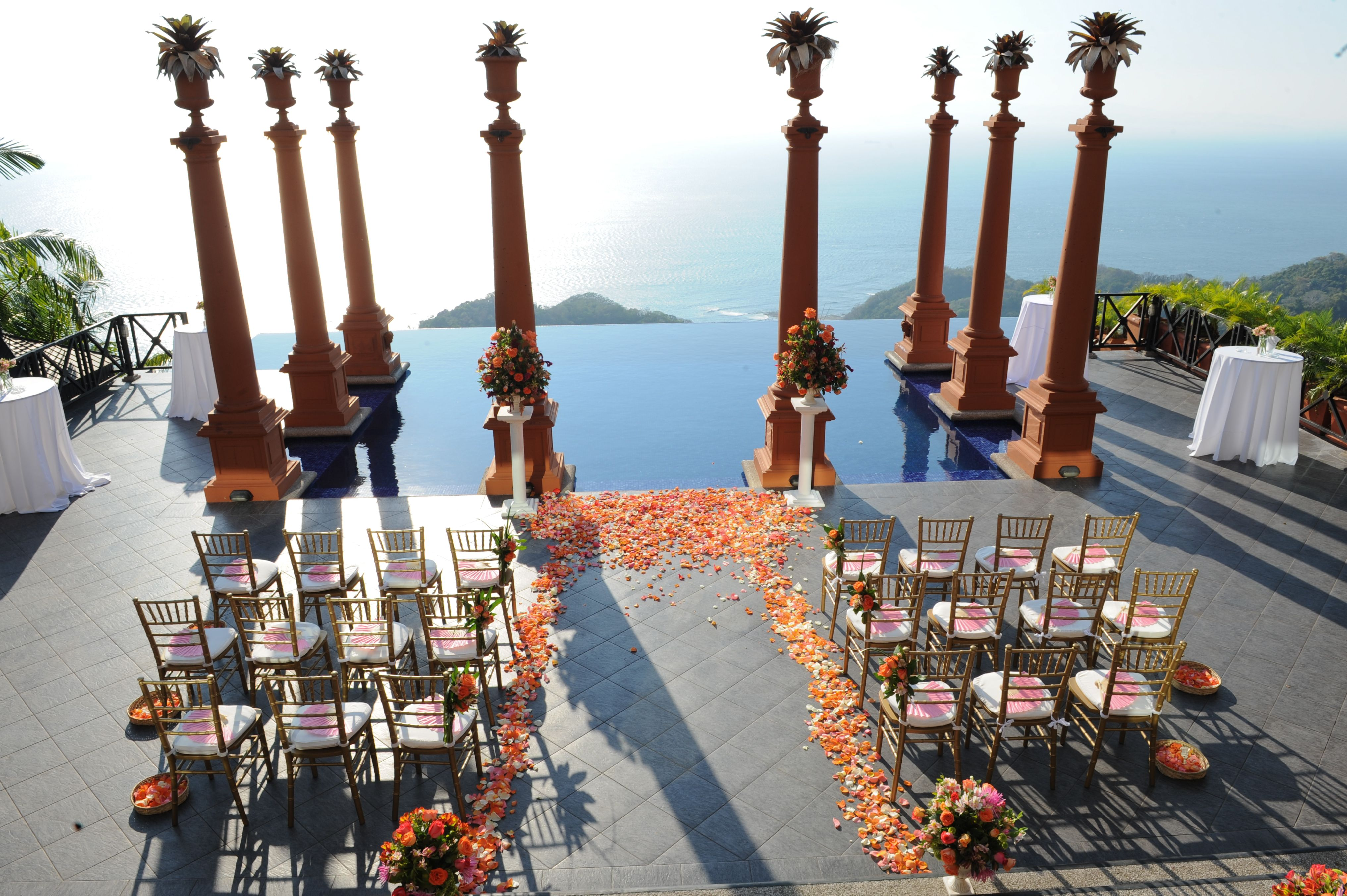 Fucshia And Orange Ceremony At Zephyr Palace Costa Rica Weddings The Bridal Circle
