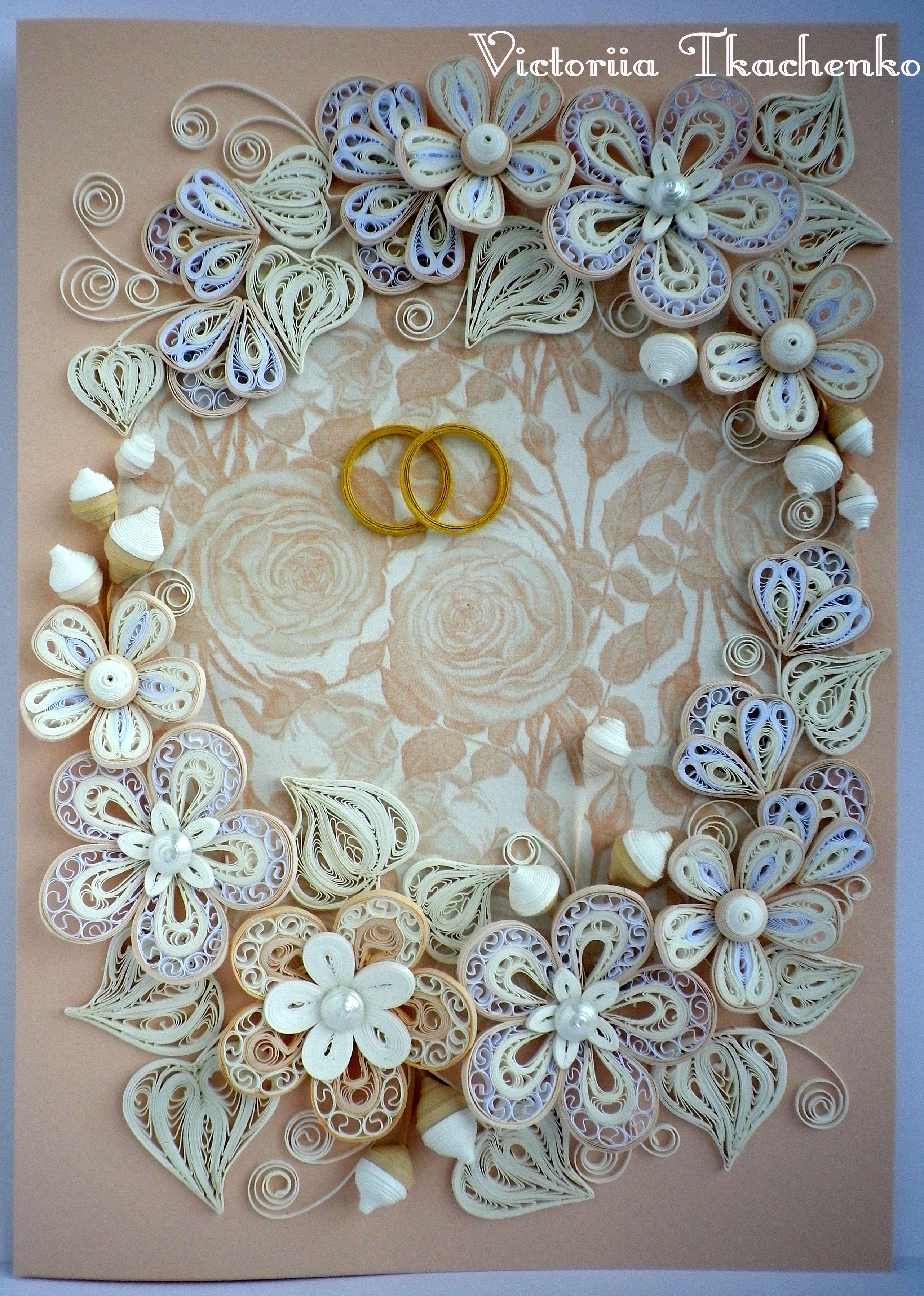 quilled wedding card by victoriia tkachenko