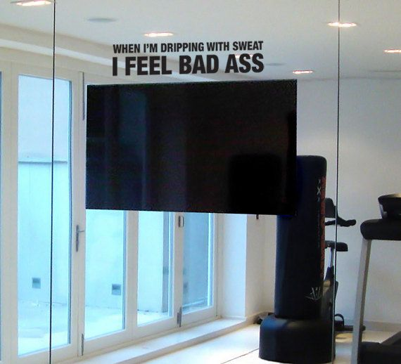 Motivational decal for gym and workout space mirror