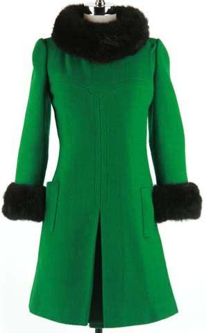 1960s - Ruby-Martin - green wool shell; black faux fur trim; mod ...