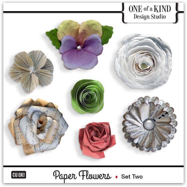 Paper Flowers - Set Two  | CU/Commercial Use #digital #scrapbook #design tools at CUDigitals.com #digitalscrapbooking
