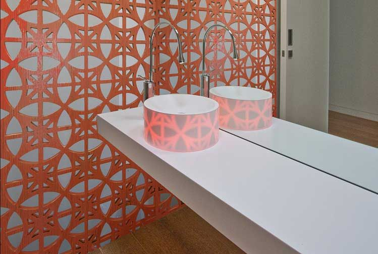 Corian® colour: Rice Paper and Glacier Ice Application: Vanity top ...