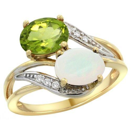 14K Yellow Gold Diamond Natural Peridot & Opal 2-stone Ring Oval 8x6mm, size 7.5, Women's