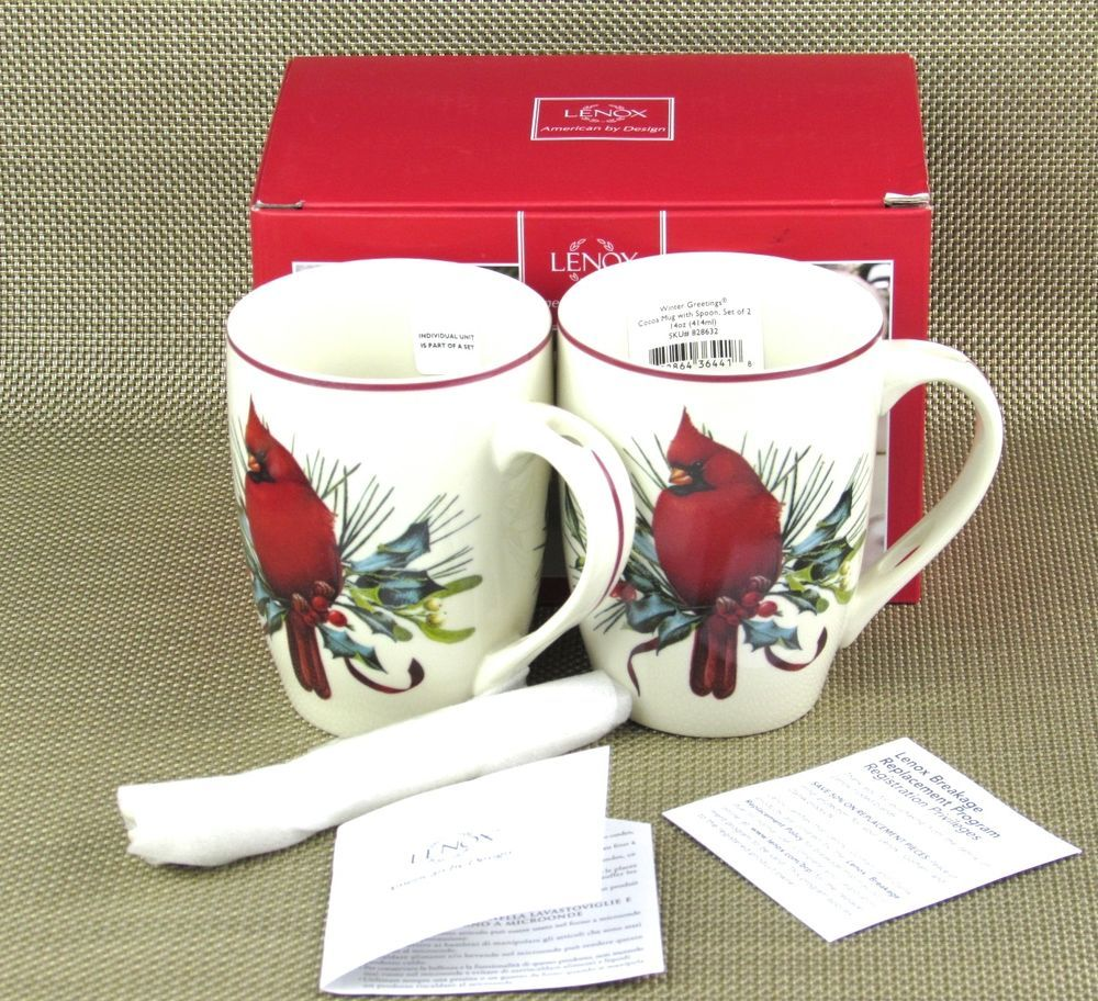 New boxed set of 2 lenox winter greetings cocoa mugs w spoons nib new boxed set of 2 lenox winter greetings cocoa mugs w spoons nib coffee tea m4hsunfo
