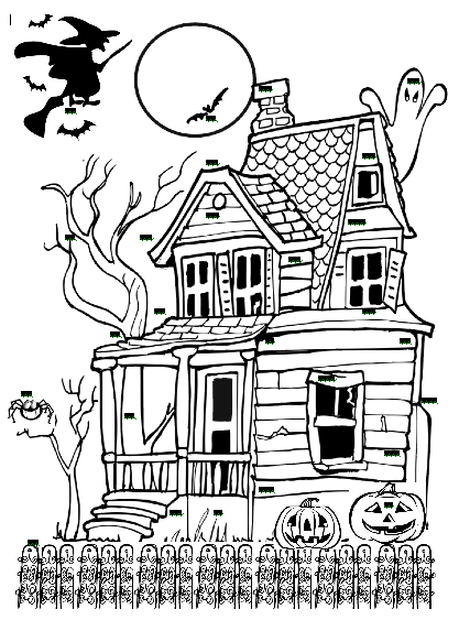 Spooky Haunted House Part Two Free halloween coloring