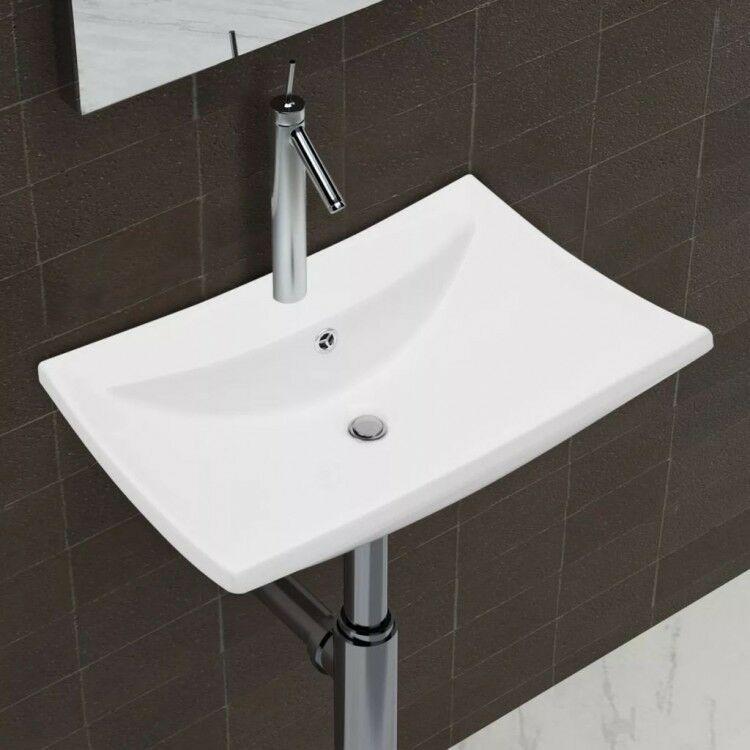 Details About Bathroom Ceramic Basin Sink White Overflow Faucet Hole Washroom Bowls Vessel Rectangular Sink Basin Sink Sink