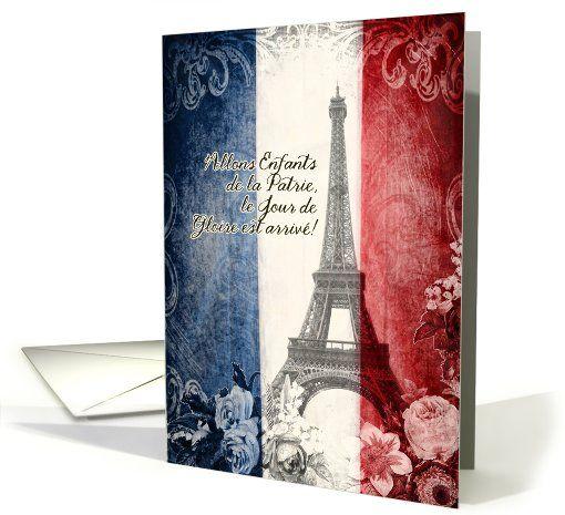 bon 14 Juillet, la tour Eiffel, la Marseillaise, fleurs, vintage card