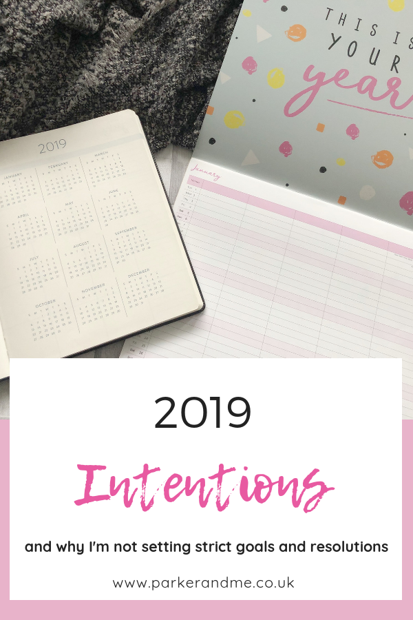 2019 I'm setting intentions for the year ahead, some