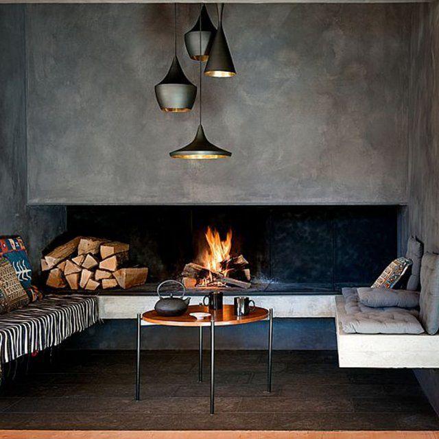 un salon avec chemin e nos id es d co marie claire maison chemin es et marie claire. Black Bedroom Furniture Sets. Home Design Ideas