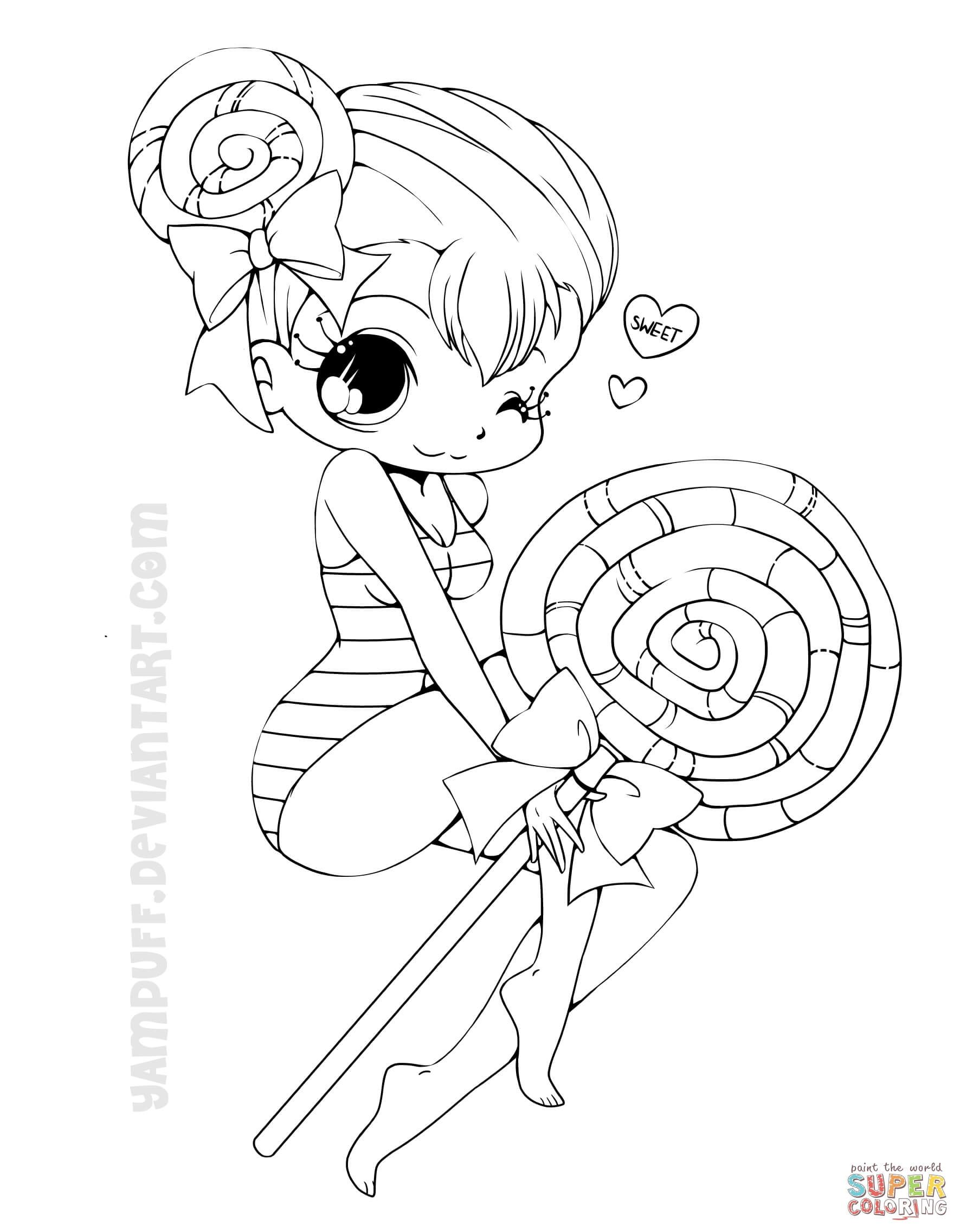 Chibi Lollipop Girl Coloring Page