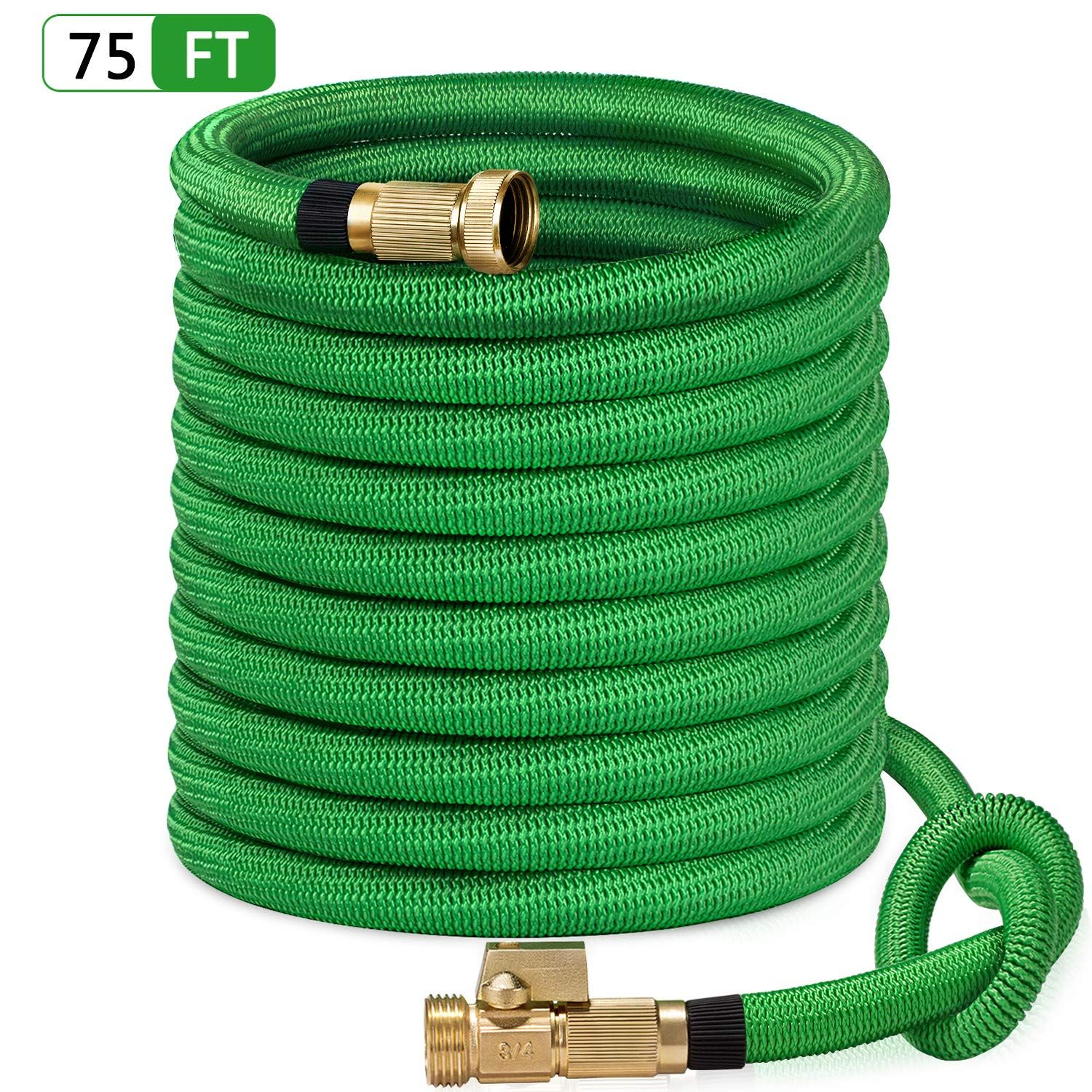 Sungreen 75ft Garden Hose All New 2019 Expandable Water Hose With 3 4 Solid Brass Fittings Extra Strength Fabric F Garden Hose Metal Garden Hose Water Hose