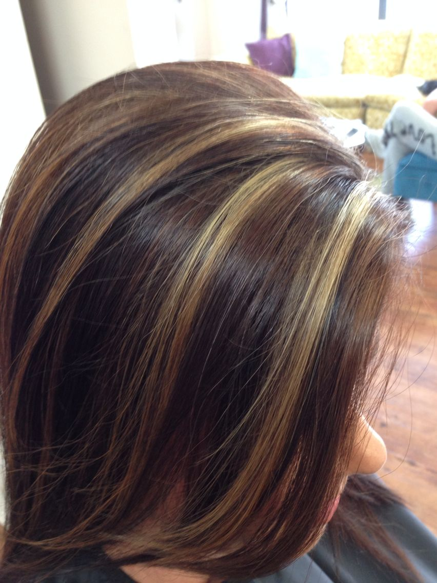 Rich Brown Haircolor With A Pop Of Blonde Highlights Rich Brown Hair Hair Highlights Rich Brown Hair Color