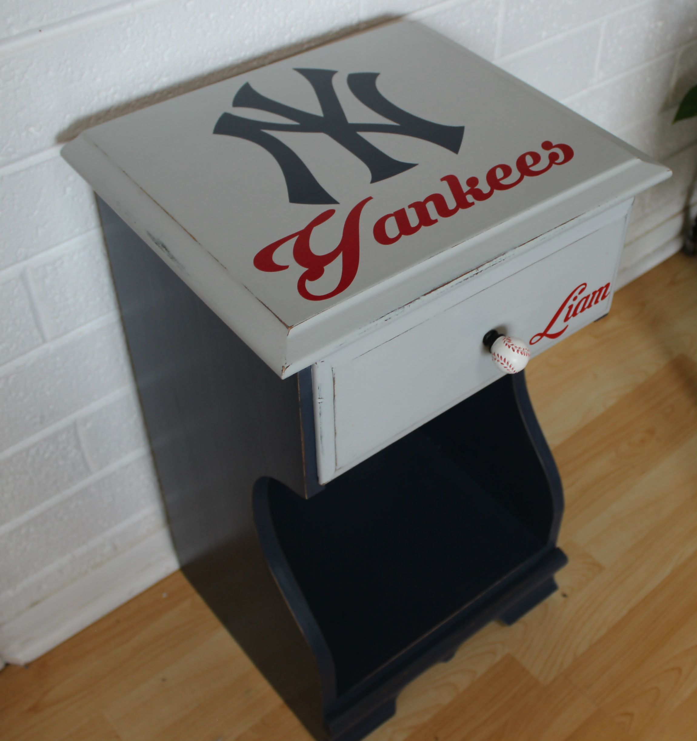 New York Yankees Night Stand Baseball Bedroom Boys Room