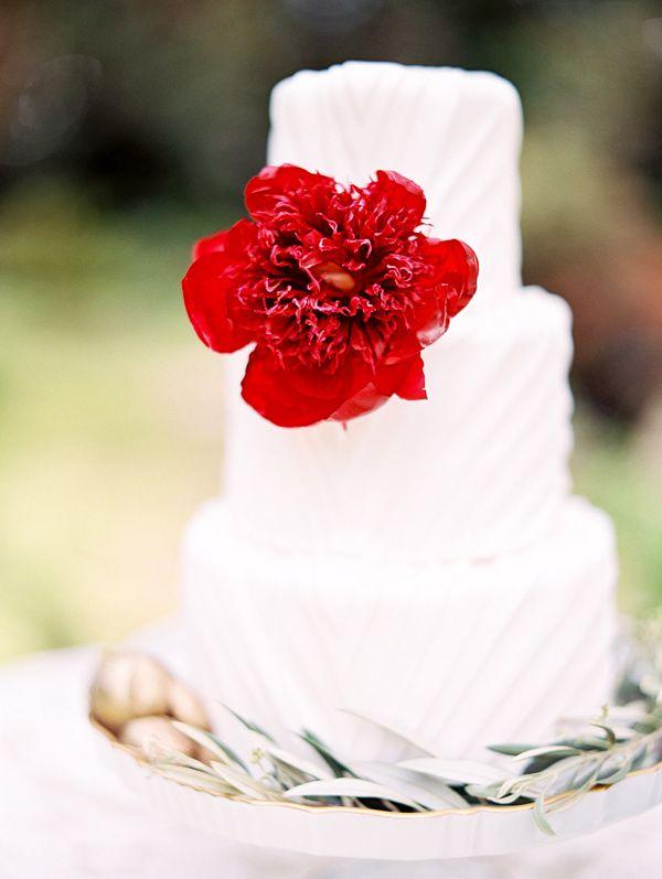 wedding cake with red charm peony - photo by Morning Light by Michelle Landreau http://ruffledblog.com/birth-of-venus-wedding-inspiration