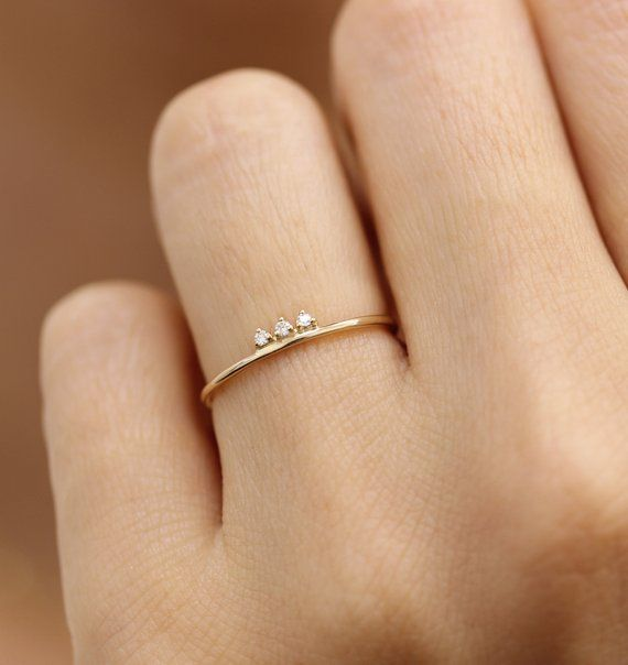 Photo of 14k Solid Gold Diamond Stacking Ring, Simple Diamond Ring, Three Stone Diamond Ring