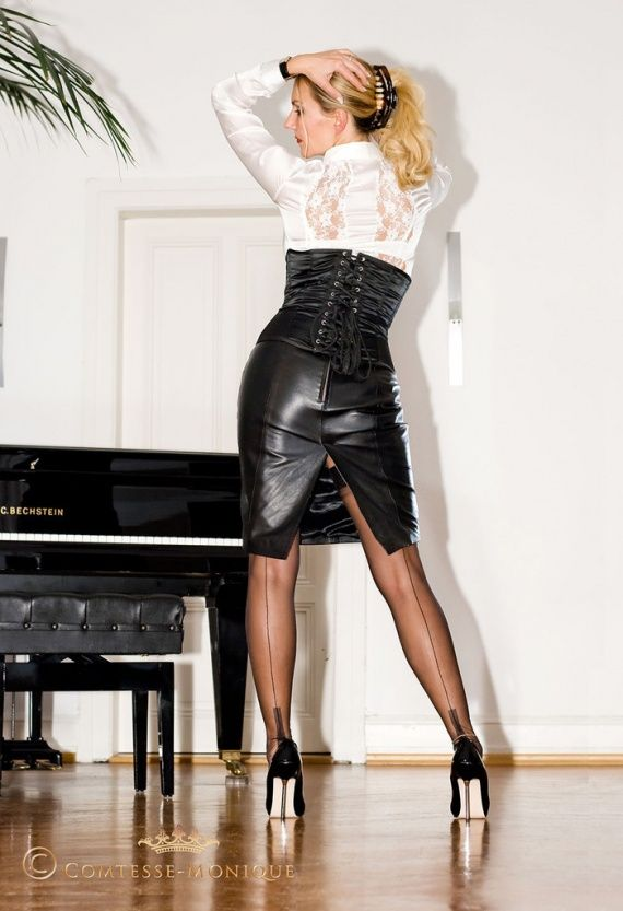 Horny tina in leather skirt hot femdom