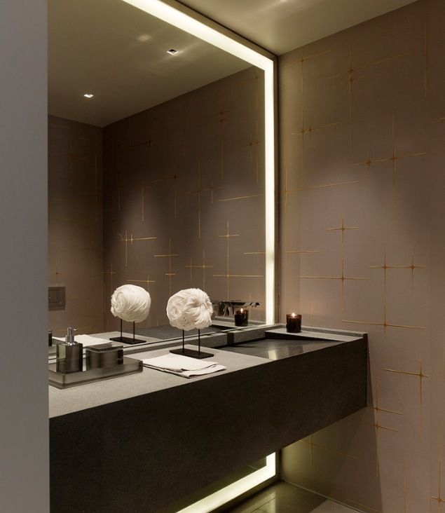 Cool Sink And Floor To Ceiling Lighted Mirror With Images Elegant Bathroom Bathroom Interior Modern Bathroom Mirrors