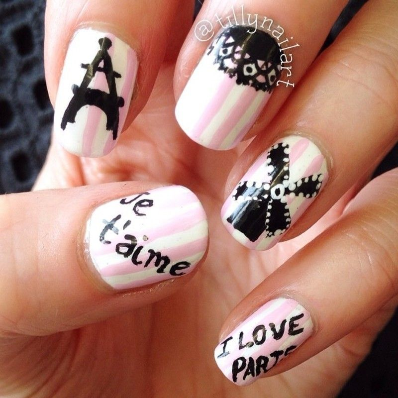I love Paris nail art, how about you Fashionista? These are Sweet and soft  combination color of nail polishes with soft pink and white. - Cute I Love Paris Nail Art Collections Paris Nails, Paris Nail