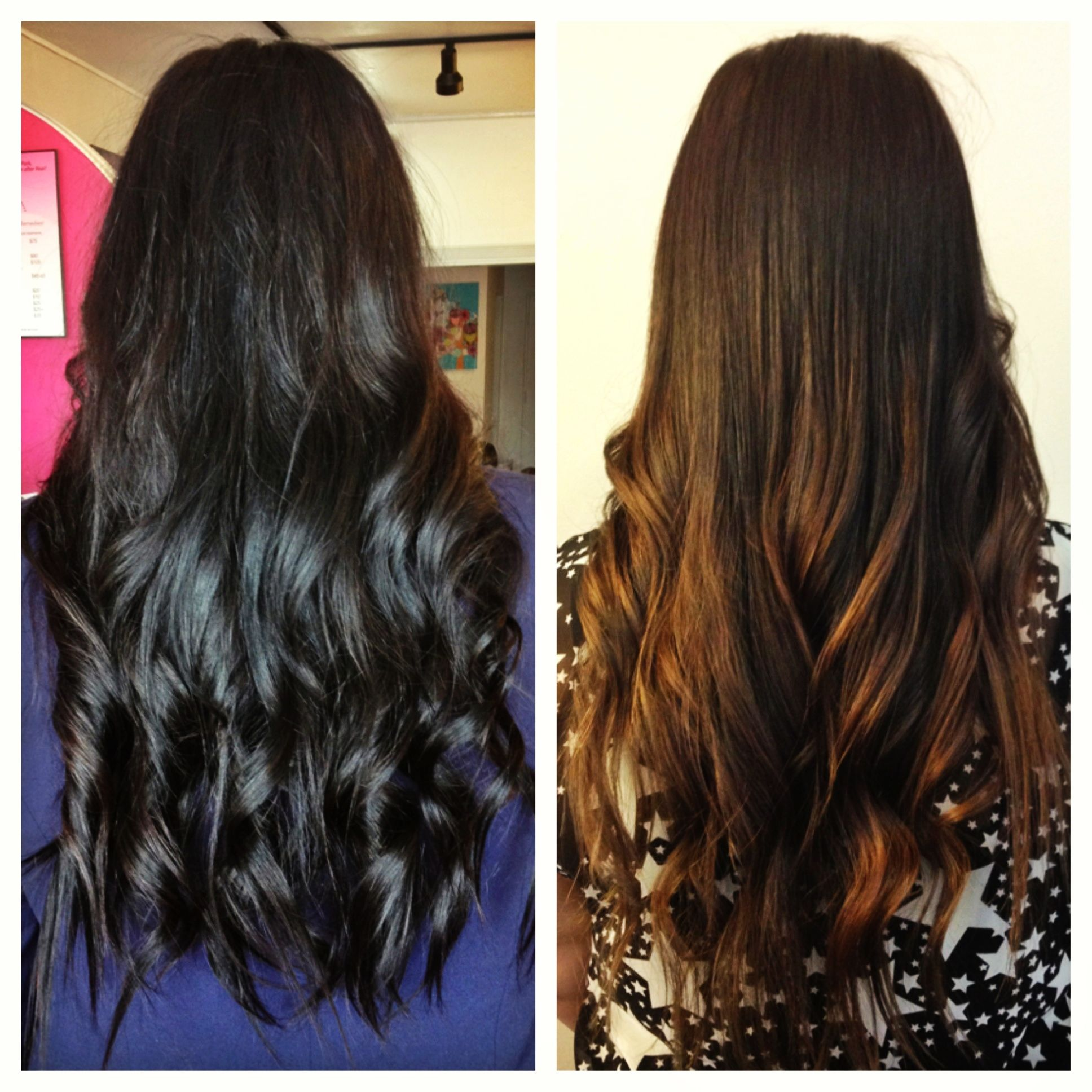 Dark brown-black hair to subtle caramel ombre courtesy of ...